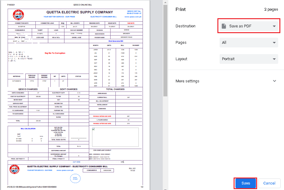 Click on print button of qesco bill online