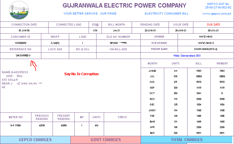 Gepco bill note referenc number